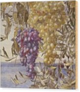 Grapes And Olives Wood Print
