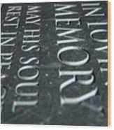 Gravestone In Loving Memory Wood Print