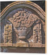 Gravestone With Draped Urn. Wood Print