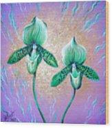 2 Green Orchids. Sunrise Wood Print