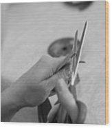 Hands At Work.  Wood Print