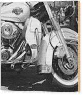 White Harley Davidson Bw Wood Print