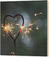 Heart Shape Sparkler Wood Print