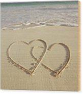 2 Hearts Drawn On The Beach Wood Print