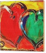 2 Hearts Wood Print