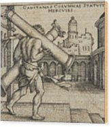 Hercules Carrying The Columns Of Gaza Wood Print