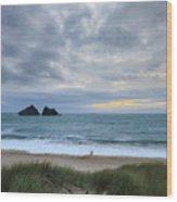 Holywell Bay Sunset Wood Print