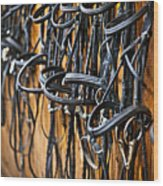 Horse Bridles Hanging In Stable Wood Print by Elena Elisseeva