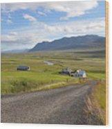 Iceland Landscape Wood Print by Ambika Jhunjhunwala