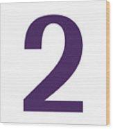 2 In Purple Typewriter Style Wood Print