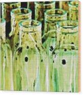 Iridescent Bottle Parade Wood Print