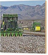 John Deere Cotton Pickers Harvesting Wood Print