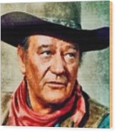 John Wayne, Hollywood Legend By John Springfield Wood Print