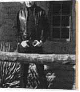 Johnny Cash Gunfighter Hitching Post Old Tucson Arizona 1971 Wood Print