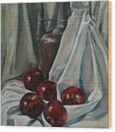 Jug With Apples Wood Print