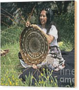 Kashia Pomo Woman Weaving Wood Print