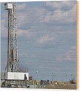 Land Oil Drilling Rig On Oilfield Wood Print