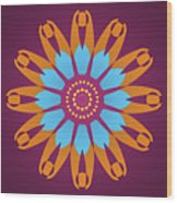 Landscape Purple Back And Abstract Orange And Blue Star Wood Print