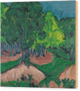 Landscape With Chestnut Tree Wood Print