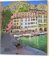 Limone Sul Garda Turquoise Harbor Panoramic View Wood Print
