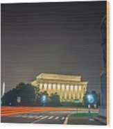Lincoln Memorial Monument With Car Trails At Night Wood Print