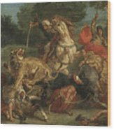Lion Hunt Wood Print