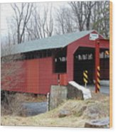 Little Gap Covered Bridge Wood Print