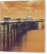 Llandudno Pier North Wales Uk Wood Print