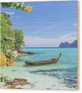 Long-tail Boats, The Andaman Sea And Hills In Ko Phi Phi Don, Th Wood Print