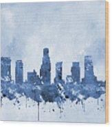 Los Angeles Skyline-blue Wood Print