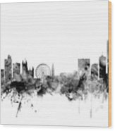 Manchester England Skyline Wood Print