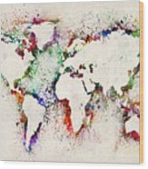 Map Of The World Paint Splashes Wood Print