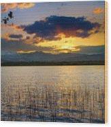 Mcintosh Lake Sunset Wood Print