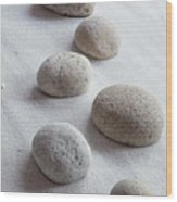 Meditation Stones On White Sand Wood Print