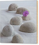 Meditation Stones Pink Flowers On White Sand Wood Print