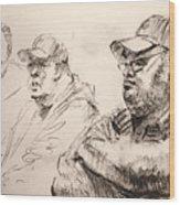 Men At Cafe Wood Print