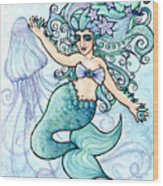 Mermaid Belly Dancer Wood Print