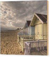 Mersea Island Beach Huts Wood Print