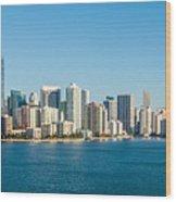 Miami Florida City Skyline Morning With Blue Sky Wood Print