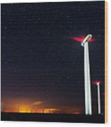 Milky Way Over The Wind Turbine Wood Print