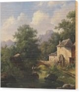 Mill With Angler Wood Print