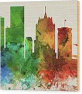 Milwaukee Skyline Panorama Uswiml-pa03 Wood Print