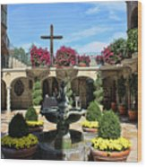 Mission Inn Chapel Courtyard Wood Print