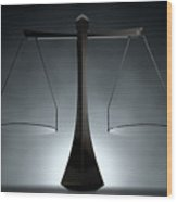 Modern Scales Of Justice Wood Print