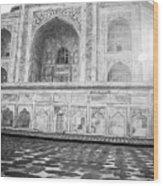 Monochrome Taj Mahal - Sunrise Wood Print