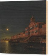 Moonlit Night On An Italian Lagoon Wood Print