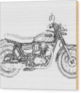 Motorcycle Art, Black And White Wood Print