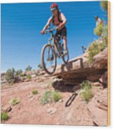 Mountain Biking The Porcupine Rim Trail Near Moab Wood Print