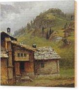 Mountain House Wood Print