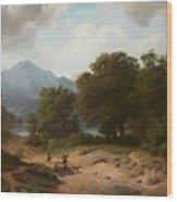 Mountainous Landscape With Shepherds Wood Print